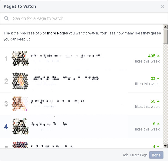 Pages to watch, add 5 ... Facebook